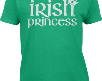 Irish Princess with Four 4 Leaf Clover Crown - St Patricks Day Pride Shamrock Proud Festival Parade Lucky Lass Charm - Womens Tee - RS-00716