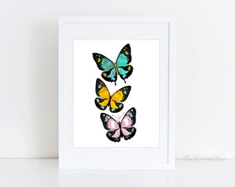 Butterfly Printable, Home Wall Decor, Teen Wall Art, Wall Printable, Hello Poster, Hello Print, Floral Wall Art, 8 x 10 Wall Print