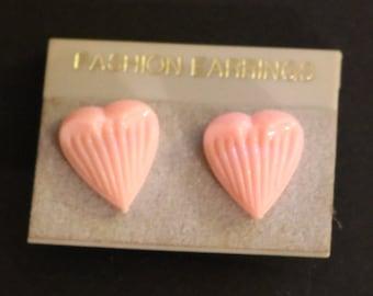 Vintage New Pink Plastic Heart Stud Earrings