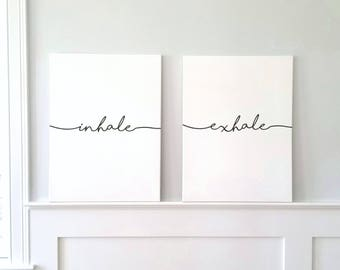Inhale Exhale Wall Art | Minimalist Typography Art | Inhale Exhale Canvas Art | Yoga Decor | Finished Canvas Art