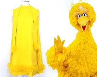 Vintage yellow dress feather trim dress sunshine yellow mod dress sleeveless summer fashion womens large