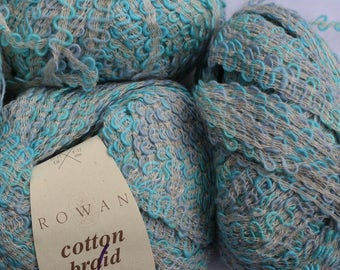 Cotton Rayon Blend Turquoise Multi-colored Yarns Cotton Braid from Rowan color 352 aqua