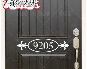 Fleur De Lis House Numbers Front Door Vinyl Lettering Decal Sticker #FLD2