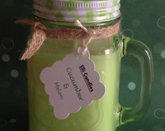 Mason jar candle - fresh cucumber and melon in a mason jar with handle.