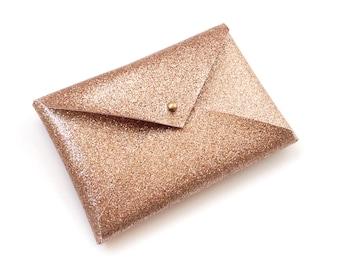 Rose Gold Glitter Metallic Card Case, Business Card Case, Business Card Wallet, Vegan Friendly