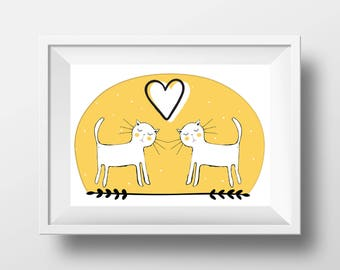 Cats in love,  printable wall art