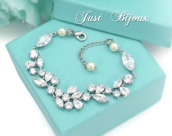 Wedding Bracelet Swarovski Pearl Platinum plated Zirconia Bracelet Wedding Jewelry Wedding Accessory Bridal CZ Bracelet Bridesmaids leaf