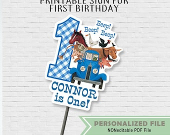 Little Blue Truck First Birthday Sign // Printable DIY Centerpiece // Personalized with Name // Sold as DIGITAL FILE Only