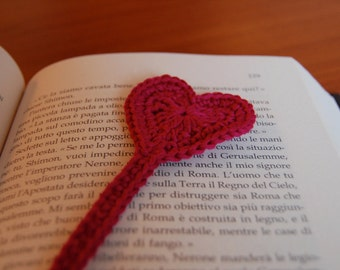 Crochet heart book mark pattern Valentine's heart book mark crochet pattern pdf gift
