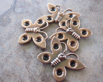 Settings - Lot of 4, Antiqued copper-plated steel, 25x18mm single-sided butterfly - JD119