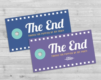 Movie Party Favors, Movie Party Tags, Movie Night Favors, Movie Birthday Favor Tags, Movie Theater Party Favors Printable, Popcorn Favors