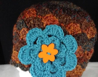 Hand Crocheted Chunky Yarn Adult Hat with Turquoise Button Flower