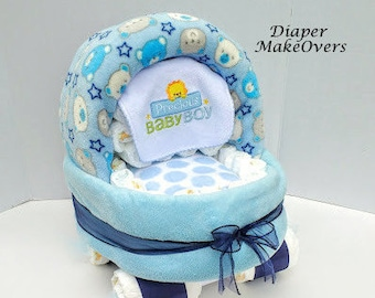 Pink Baby Carriage Diaper Cake Unique Baby Shower Gift or