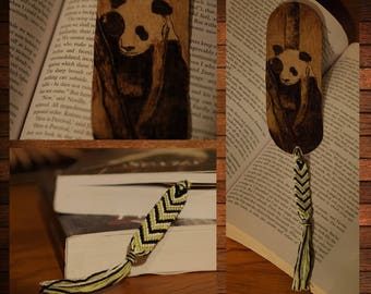 handmade wooden bookmark pyrography panda