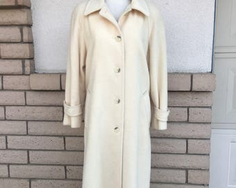 Vintage Winter White Wool Mohair Coat 80s Solid White MacKintosh Full Length Coat Size Large