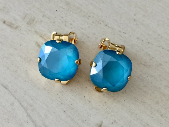Azure Blue Lacquer Swarovski Crystal Clip On Earrings, Yellow Gold