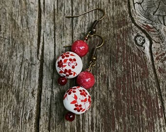 Autumn Red Floral Earrings