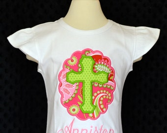 Personalized Cross Patch Applique Shirt or Bodysuit Girl
