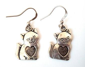 Metal silver cat earrings