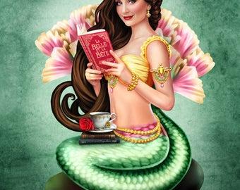 Mermaid Visions: Book Lover  -  Fantasy Mermaid Art - Brigid Ashwood