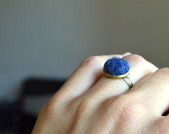 Tiny felt Ring, gift idea, Felt Ring, Bohemian Felt Ring, Felt boho Jewelry, Unique ring, Gift woman, wool ring, Adjustable ring