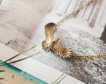 Bronze Eagle Necklace, Eagle Charm Jewellery, Eagle Jewellery, Eagle Necklace, Eagle Choker, Bird Necklace, Teenager Gift, Eagle Pendant