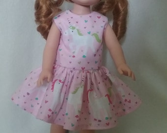 Wellie WIsher Doll  Dress, AG Doll Dress, Unicorn Doll  Dress, Wellie Wisher Doll Clothes
