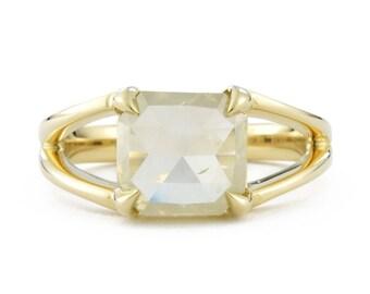 Yellow Rose Cut Diamond Ring, 14K Gold Yellow Diamond Engagement Ring, Double Band Engagement Ring, 2.40 ct diamond ring