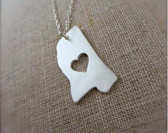 Mississippi State Necklace in Silver with Heart Silhouette - Magnolia State