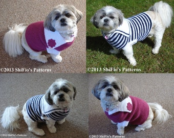 CROCHET PATTERN Maddi's  Sailor Dog Sweater Jumper in 4 sizes PDF 247 Digital Download