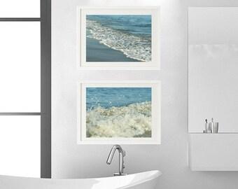 Aqua teal beach bathroom decor, ocean photo prints, sea foam photography, seashore print set of 2 8x10 pictures, turquoise art nautical bath