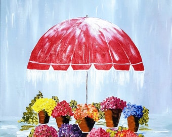 Flowers in the Rain - Acrylic Painting on 16 x 20 Stretched Canvas