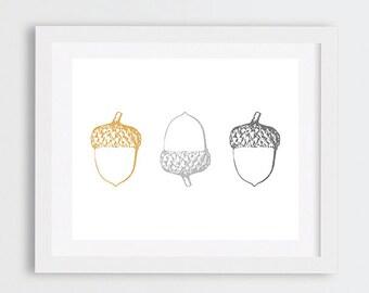 Acorns Wall Art, Nature Print, Cabin Decor, Acorns Printable Wall Art, Gold Grey Minimal Art, Monochrome Neutral Decor, Instant Download