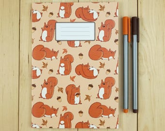 Red Squirrels Cute Chubby Woodland Autumn Animal Squirrel Patterned A5 Paperback Notebook - Lined or Plain Pages
