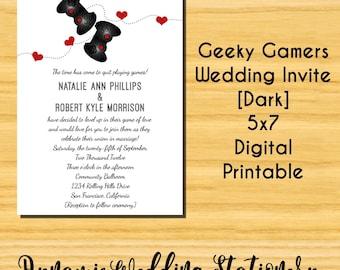DIY Printable Geeky Gamers Wedding Invitation