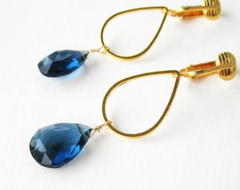 Navy Blue and Gold Teardrop Clip-on Earrings, Dark Sapphire Blue Faceted Stones, Gold Ear Clips, For Non Pierced Ears, Modern Drop Blue