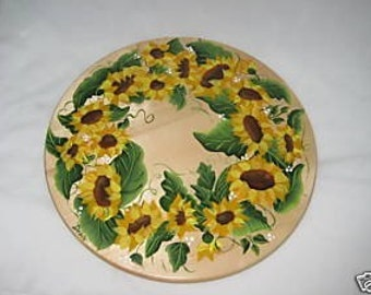 Hand Painted LAZY SUSAN With SUNFLOWERS