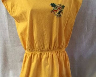 Vintage Hola Amigo International Los Cabos Beach Cover Tunic Top Blouse