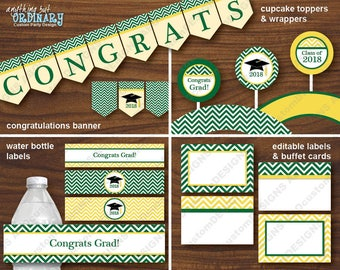 Green and Gold Chevron Graduation Decorations, DIY Printable Grad Party Package, INSTANT DOWNLOAD, digital file