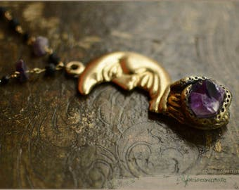 Crescent Moon necklace with Amethyst point quartz and Lava stone - Luna - handsculpted - Handmade jewelry sculpt