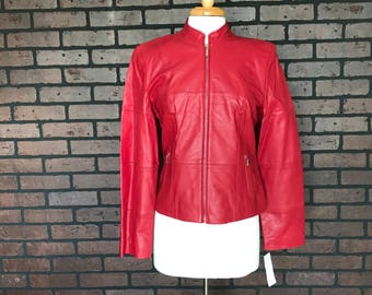 CLOSING SALE vintage 90s Red Leather Jacket