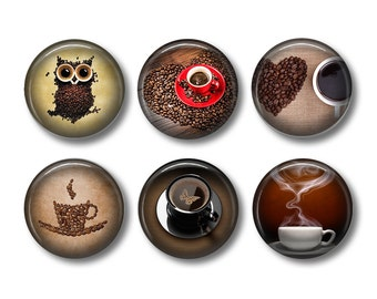 Coffee Magnets, Coffee Lover Gift, Fridge Magnets, Kitchen Magnets, Button Magnets, Magnet Set