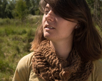 Chunky Alpaca Cowl with Handmade Wood Buttons - Handspun and Handknit from Start to Finish