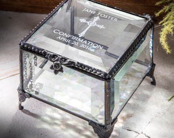 Confirmation Gift Keepsake Jewelry Box Personalized Gift for Confirmation Box Engraved Glass Box Religious Gift Christian Gift Box 326 EB221