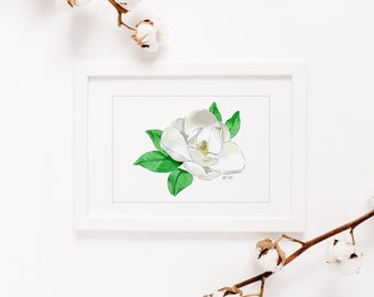 Southern Flowers, Spring, Framed Watercolor Prints, Floral, Bluebonnet, Camellia, Dogwood, Magnolia, 8x10 Painting