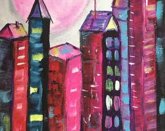 Original Pink Moon City Scape Skyscrapers New York 6x8 Acrylic