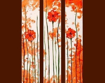 Orange Poppy Triptych Commission by Kristen Dougherty