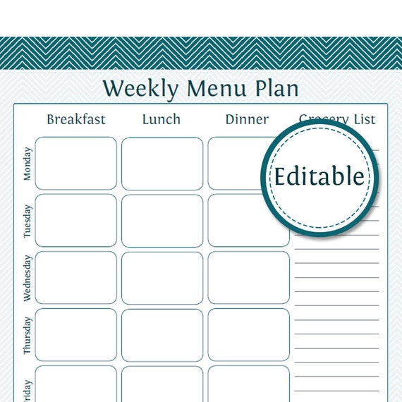 editable weekly meal planner