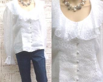Sweet White Elegance !!!Ruffels ,long sleeve,Textured, Chic size 10 blouse