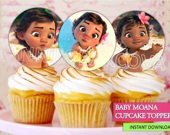 Moana Cupcake toppers/ Baby Moana Printables/Moana Toppers/ Moana Cake Toppers/ Instant Download/ You Print 60% OFF Sale